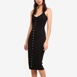 NWT Black ribbed dress with front buttons.